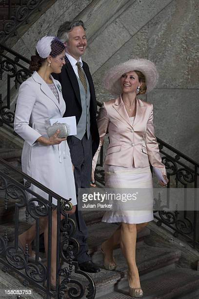 Princess Martha Louise Of Norway And Husband Ari Behn With Princess Madeleine Of Sweden After The Christening Of Princess Estelle At The Royal Chapel...