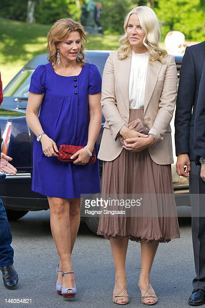 Princess Martha Louise of Norway and Princess MetteMarit of Norway attend opening of exhibition 'Landskap og Rom' at Henie Onstad Art Centre on June...