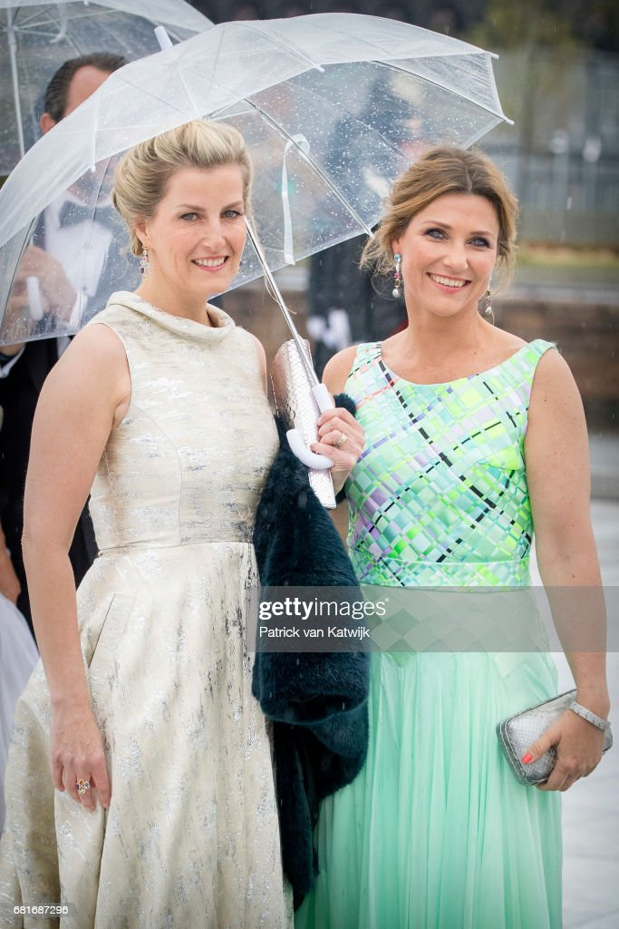 Princess Martha Louise of Norway and Sophie, Countess of Wessex, arrive at the Opera House on the ocassion of the celebration of King Harald and Queen Sonja of Norway 80th birthdays on May 10, 2017 in Oslo, Norway.