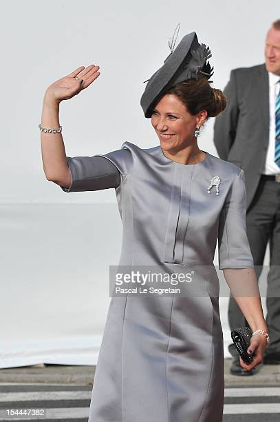 Princess Martha Louise of Norway attends the wedding ceremony of Prince Guillaume Of Luxembourg and Princess Stephanie of Luxembourg at the Cathedral...