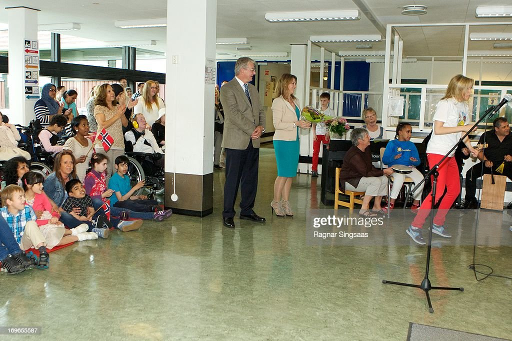 Princess Martha Louise of Norway (C) Visits Haukasen Elementary School In Oslo On The School's 40th Anniversary on May 30, 2013 in Oslo, Norway.