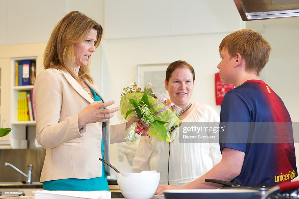 Princess Martha Louise of Norway (L) Visits Haukasen Elementary School on the School's 40th Anniversary, on May 30, 2013 in Oslo, Norway.