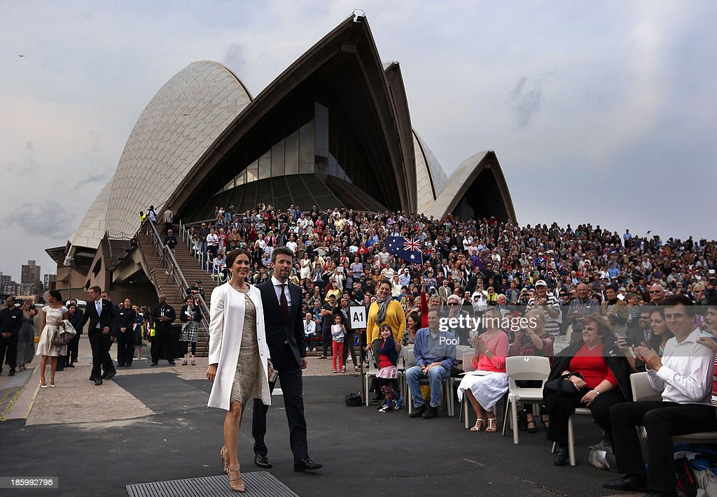 Princess Mary and <a gi-track='captionPersonalityLinkClicked' href=/galleries/search?phrase=Prince+Frederik+of+Denmark&family=editorial&specificpeople=171286 ng-click='$event.stopPropagation()'>Prince Frederik of Denmark</a> arrive at the 40th Anniversary Gala Concert for the Sydney Opera House on October 27, 2013 in Sydney, Australia. Prince Frederik and Princess Mary will visit Sydney for five days and will attend events to celebrate the 40th anniversary of the Sydney Opera House and the Danish architect who designed the landmark, Jorn Utzen.