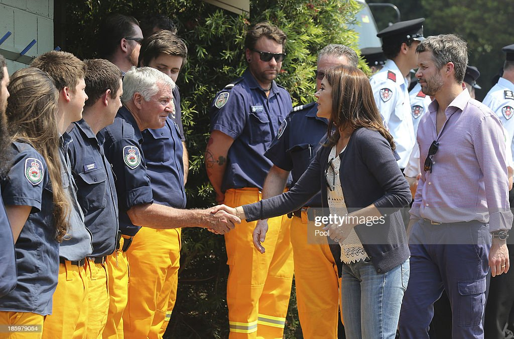 Princess Mary and Prince Frederik of Denmark meet volunteer firefighters at the Winmalee Fire Station on October 27, 2013 in Winmalee, Australia. Prince Frederik and Princess Mary will visit Sydney for five days and will attend events to celebrate the 40th anniversary of the Sydney Opera House and the Danish architect who designed the landmark, Jorn Utzen.