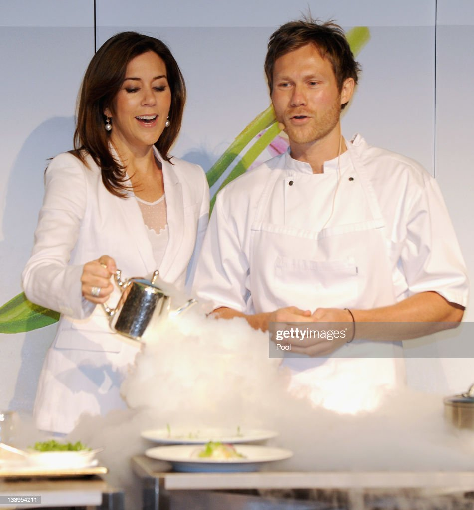 Princess Mary of Denmark and Danish Chef Rasmus Kofoed attend a Danish Agriculture and Food Council's demonstration chef Matt Moran at the Hotel Sofitel Melbourne on November 23, 2011 in Melbourne, Australia. Princess Mary and Prince Frederik are on their first official visit to Australia since 2008. The Royal visit begins in Sydney, before heading to Melbourne, Canberra and Broken Hill.