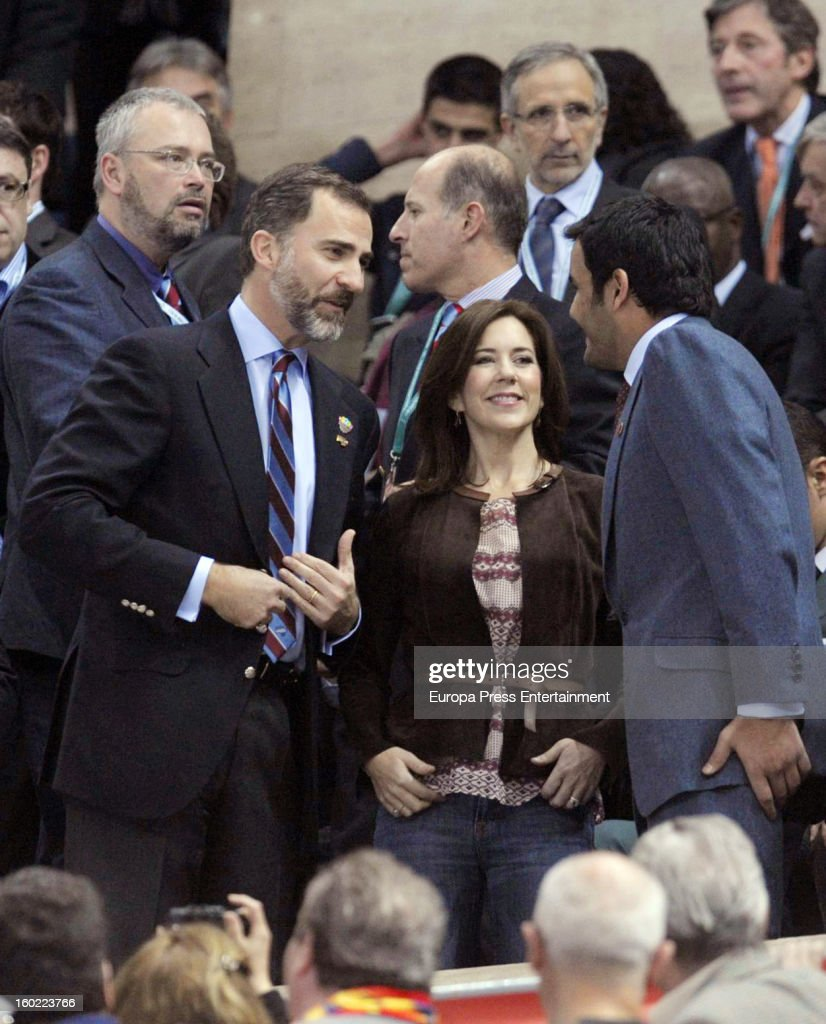 Princess Mary of Denmark and Prince Felipe of Spain attend the Men's Handball World Championship 2013 final match between Spain and Denmark at Palau Sant Jordi on January 27, 2013 in Barcelona, Spain.