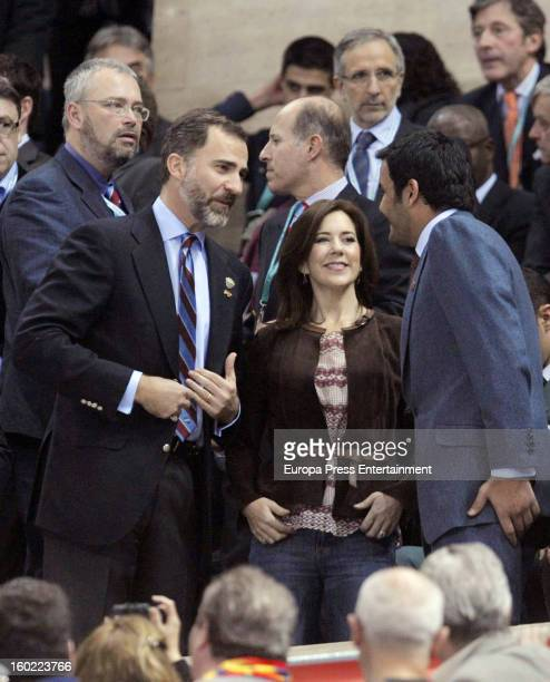 Princess Mary of Denmark and Prince Felipe of Spain attend the Men's Handball World Championship 2013 final match between Spain and Denmark at Palau...