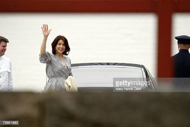 Princess Mary of Denmark and Prince Frederick of Denmark leave Copenhagen University Hospital with their newly born daughter and Prince Christian of...