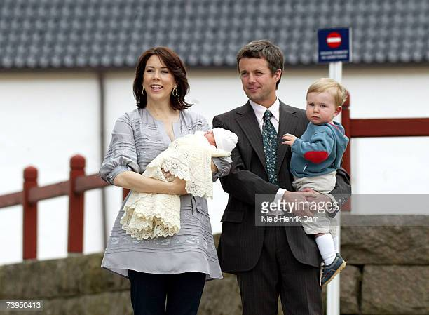 Princess Mary of Denmark and Prince Frederick of Denmark pose with their newly born daughter and Prince Christian of Denmark outside Copenhagen...