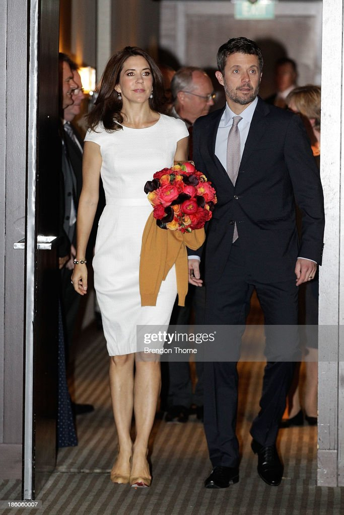 Princess Mary of Denmark and <a gi-track='captionPersonalityLinkClicked' href=/galleries/search?phrase=Prince+Frederik+of+Denmark&family=editorial&specificpeople=171286 ng-click='$event.stopPropagation()'>Prince Frederik of Denmark</a> arrive at an offical ceremony of the Diploma of the Danish Export Association and His Royal Highness Prince Henrik's Medal of Honour to ECCO Shoes Pacific on October 28, 2013 in Sydney, Australia. Prince Frederik and Princess Mary will visit Sydney for five days and will attend events to celebrate the 40th anniversary of the Sydney Opera House and the Danish architect who designed the landmark, Jorn Utzen.