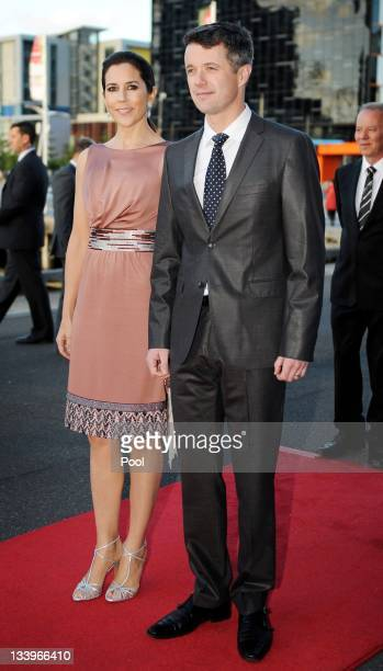 Princess Mary of Denmark and Prince Frederik of Denmark arrive for a business delegation dinner on November 23 2011 in Melbourne Australia Princess...