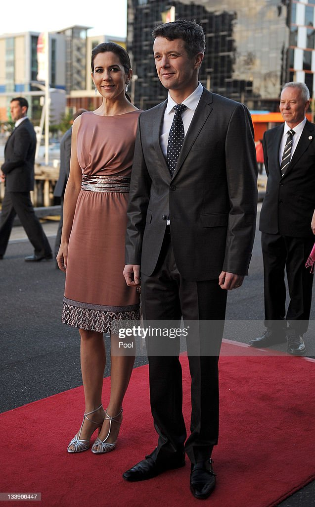 Princess Mary of Denmark and <a gi-track='captionPersonalityLinkClicked' href=/galleries/search?phrase=Prince+Frederik+of+Denmark&family=editorial&specificpeople=171286 ng-click='$event.stopPropagation()'>Prince Frederik of Denmark</a> (R) arrive for a business delegation dinner on November 23, 2011 in Melbourne, Australia. Princess Mary and Prince Frederik are on their first official visit to Australia since 2008. The Royal visit began in Sydney, before heading to Melbourne, Canberra and Broken Hill.