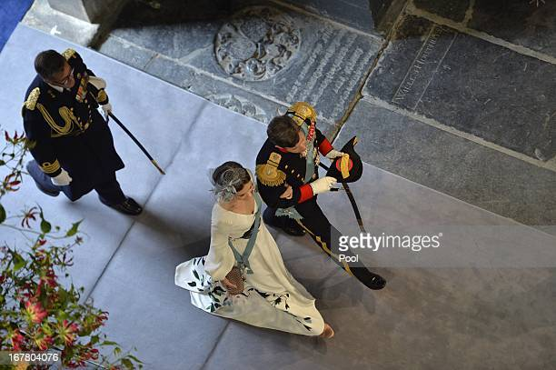 Princess Mary of Denmark and Prince Frederik of Denmark arrive for the inauguration ceremony for King WillemAlexander of the Netherlands at Nieuwe...