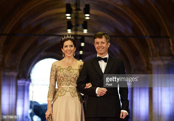 Princess Mary of Denmark and Prince Frederik of Denmark arrive to attend a dinner hosted by Queen Beatrix of The Netherlands ahead of her abdication...