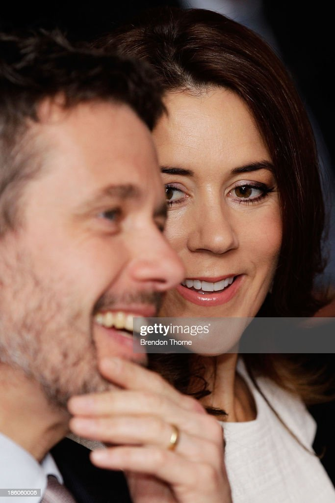 Princess Mary of Denmark and Prince Frederik of Denmark attend an offical ceremony of the Diploma of the Danish Export Association and His Royal Highness Prince Henrik's Medal of Honour to ECCO Shoes Pacific on October 28, 2013 in Sydney, Australia. Prince Frederik and Princess Mary will visit Sydney for five days and will attend events to celebrate the 40th anniversary of the Sydney Opera House and the Danish architect who designed the landmark, Jorn Utzen.