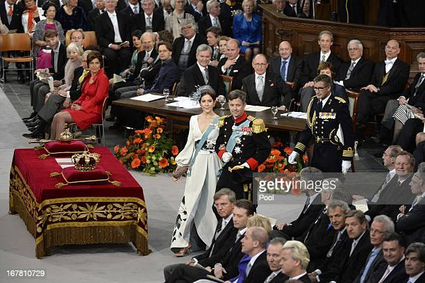 Princess Mary of Denmark and Prince Frederik of Denmark attend the inauguration ceremony for King WillemAlexander of the Netherlands at Nieuwe Kerk...
