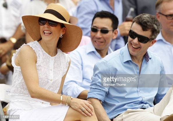 Princess Mary of Denmark and Prince Frederik of Denmark share a joke during their visit to 'Sculpture by the Sea' on November 20 2011 in Sydney...