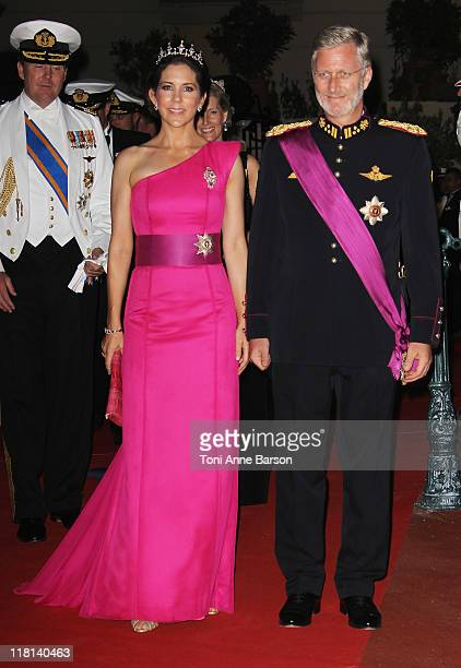 Princess Mary of Denmark and Prince Philippe of Belgium attend the official dinner and firework celebrations at the Opera Terraces after the...