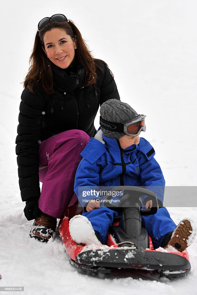 Princess Mary of Denmark and Prince Vincent of Denmark meet the press, whilst on skiing holiday on February 14, 2014 in Verbier, Switzerland.