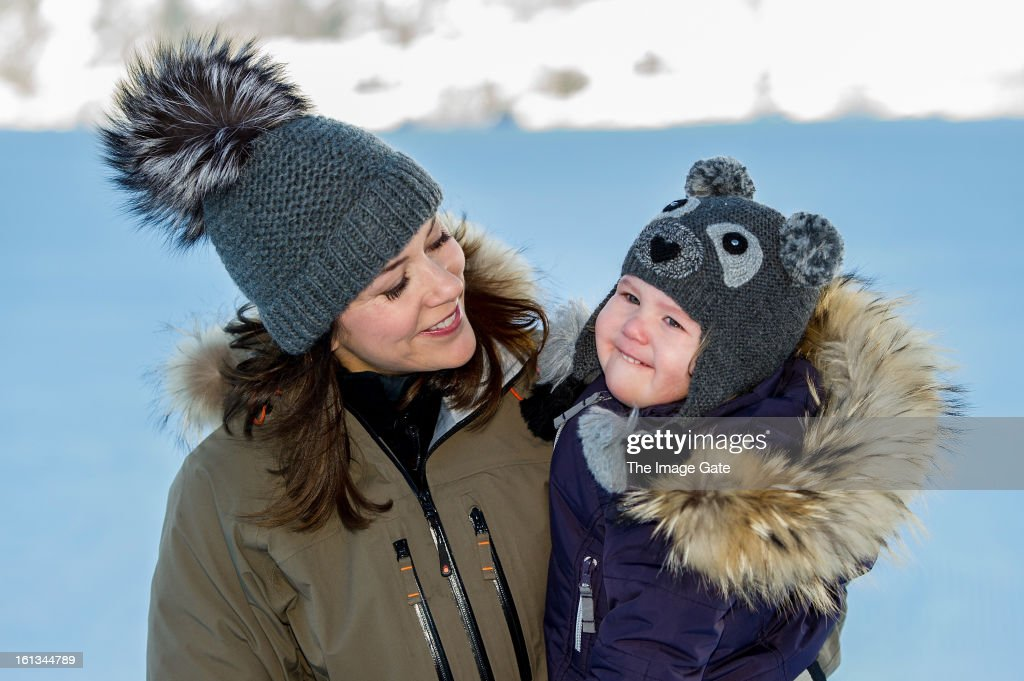 Princess Mary of Denmark and Princess Josephine of Denmark meet the press, whilst on skiing holiday on February 10, 2013 in Verbier, Switzerland.
