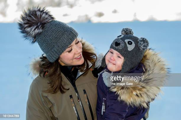 Princess Mary of Denmark and Princess Josephine of Denmark meet the press whilst on skiing holiday on February 10 2013 in Verbier Switzerland
