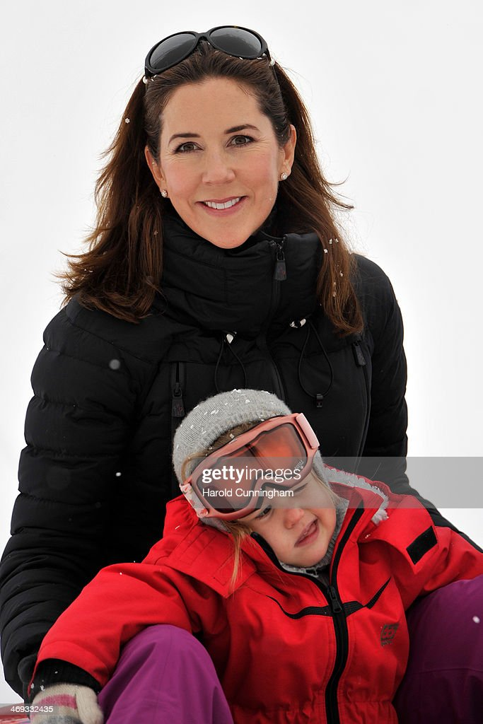 Princess Mary of Denmark and Princess Josephine of Denmark meet the press, whilst on skiing holiday on February 14, 2014 in Verbier, Switzerland.