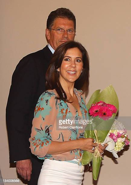 Princess Mary of Denmark arrives with Premier of Victoria Ted Baillieu for the SunSmart 2011 summer campaign launch at Parliament House on November...