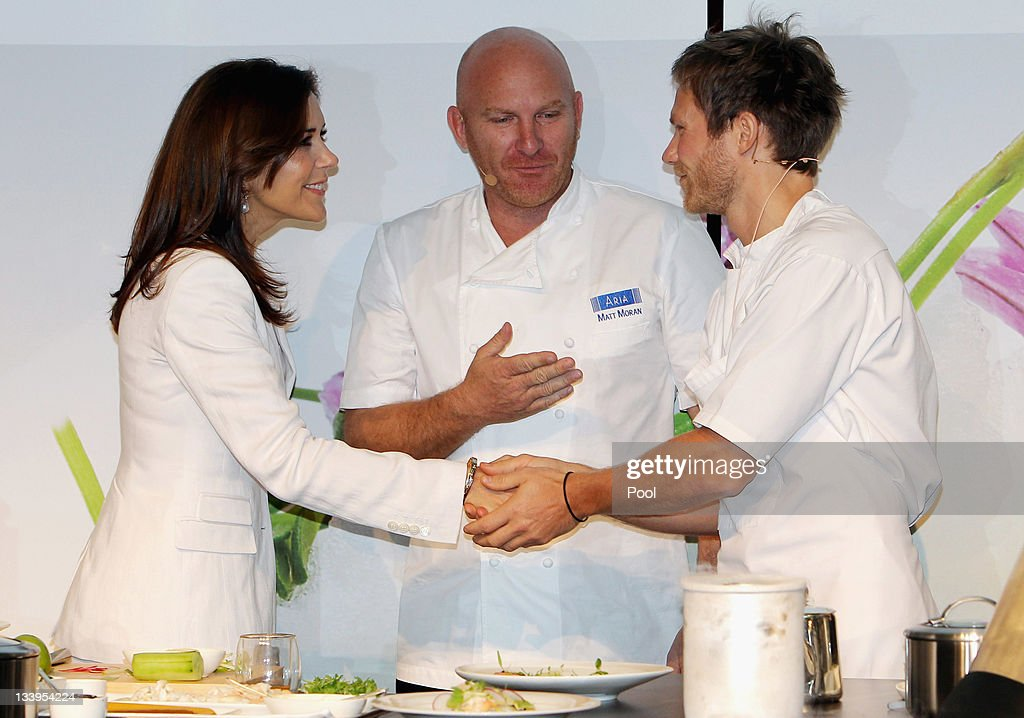 Princess Mary of Denmark attends a Danish Agriculture and Food Council's demonstration with Danish Chef Rasmus Kofoed (R) and chef Matt Moran (C) at the Hotel Sofitel Melbourne on November 23, 2011 in Melbourne, Australia. Princess Mary and Prince Frederik are on their first official visit to Australia since 2008. The Royal visit begins in Sydney, before heading to Melbourne, Canberra and Broken Hill.