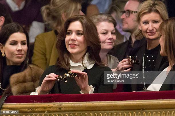 Princess Mary of Denmark attends the Malene Birger show at the Royal Theatre during day two of Copenhagen Fashion Week Autumn/Winter 2013 on January...