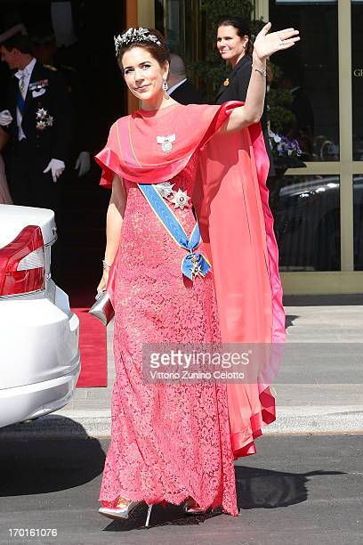 Princess Mary of Denmark departs The Grand Hotel to attend the wedding of Princess Madeleine of Sweden and Christopher O'Neill hosted by King Carl...