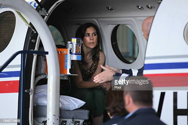 Princess Mary of Denmark greets the crowd during a visit to the Royal Flying Doctor Service on November 25 2011 in Broken Hill Australia Princess...