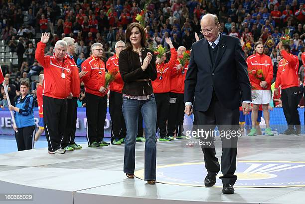 Princess Mary of Denmark handles the silver medals to the danish players after the Men's Handball World Championship 2013 final match between Spain...