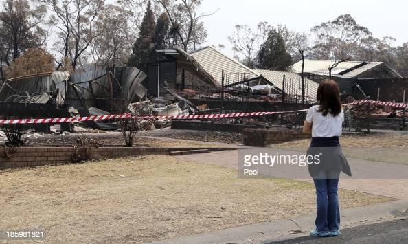 Princess Mary of Denmark looks at bush fire devastation on October 27 2013 in Winmalee Australia Prince Frederik and Princess Mary will visit Sydney...