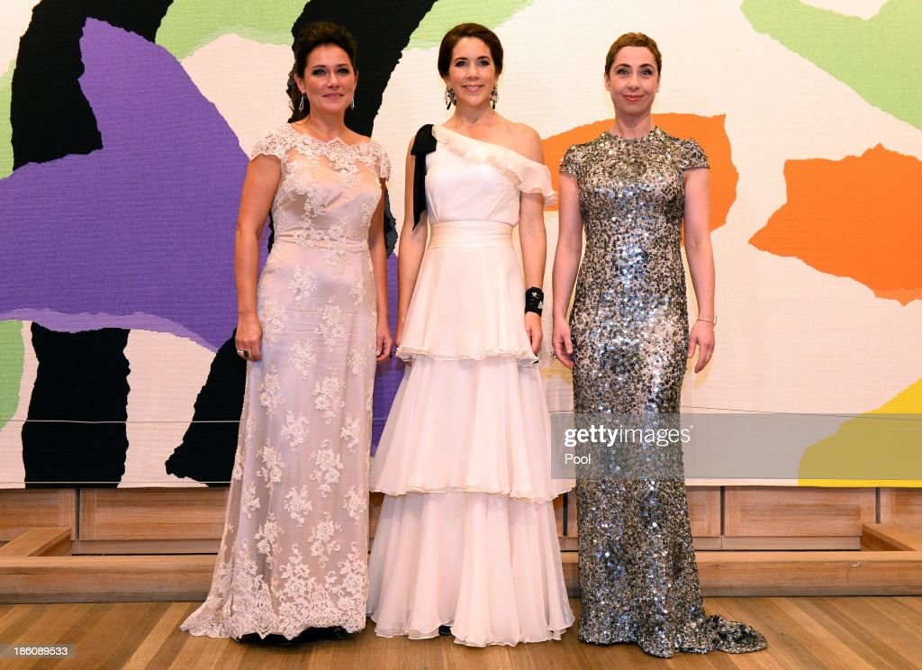 Princess Mary of Denmark poses with winners of the Culture Award, actress <a gi-track='captionPersonalityLinkClicked' href=/galleries/search?phrase=Sidse+Babett+Knudsen&family=editorial&specificpeople=4216085 ng-click='$event.stopPropagation()'>Sidse Babett Knudsen</a> (L) and actress <a gi-track='captionPersonalityLinkClicked' href=/galleries/search?phrase=Sofie+Grabol&family=editorial&specificpeople=234883 ng-click='$event.stopPropagation()'>Sofie Grabol</a> ( R) for the television series 'Borgen' and 'The Killing' at the Crown Prince Couple Awards 2013 at the Sydney Opera House on October 28, 2013 in Sydney, Australia. Prince Frederik and Princess Mary are on a five day visit to Sydney and will attend events to celebrate the 40th anniversary of the Sydney Opera House and the Danish architect who designed the landmark, Jorn Utzen.