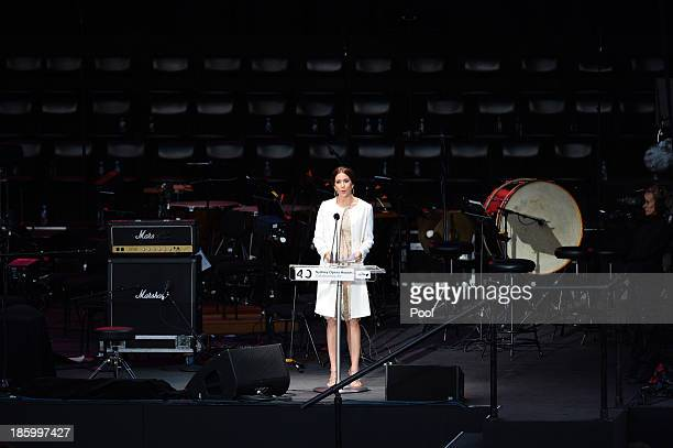Princess Mary of Denmark speaks at the 40th Anniversary Gala Concert for the Sydney Opera House on October 27 2013 in Sydney Australia Prince...