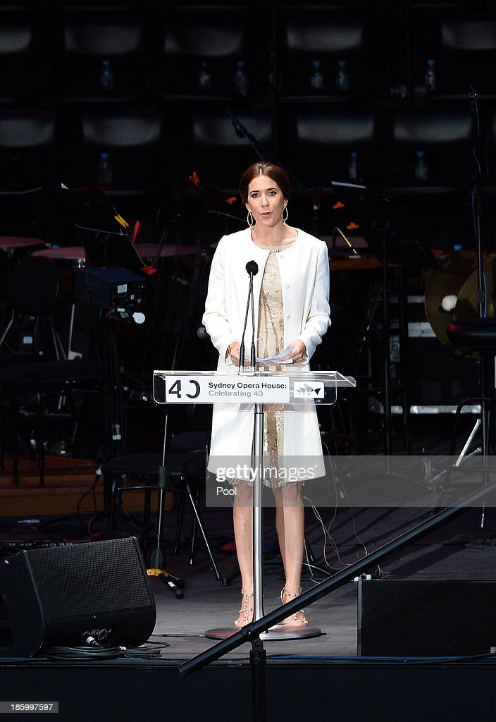Princess Mary of Denmark speaks at the 40th Anniversary Gala Concert for the Sydney Opera House on October 27, 2013 in Sydney, Australia. Prince Frederik and Princess Mary will visit Sydney for five days and will attend events to celebrate the 40th anniversary of the Sydney Opera House and the Danish architect who designed the landmark, Jorn Utzen.