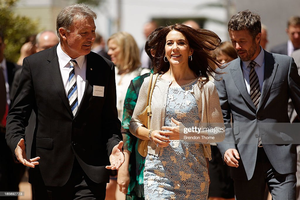Princess Mary of Denmark speaks with John Bertrand (L) prior to the launch of eSmart Homes Digital License, The Alannah and Madeline Foundation on October 26, 2013 in Sydney, Australia. Prince Frederik and Princess Mary will visit Sydney for five days and will attend events to celebrate the 40th anniversary of the Sydney Opera House and the Danish architect who designed the landmark, Jorn Utzen.