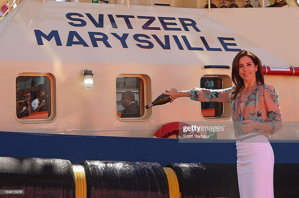 Princess Mary of Denmark sprays champagne as she christens the tugboat 'Svitzer Marysville' during the naming ceremony on November 24, 2011 in Melbourne, Australia. Princess Mary and Prince Frederik are on their first official visit to Australia since 2008. The Royal visit begins in Sydney, before heading to Melbourne, Canberra and Broken Hill.