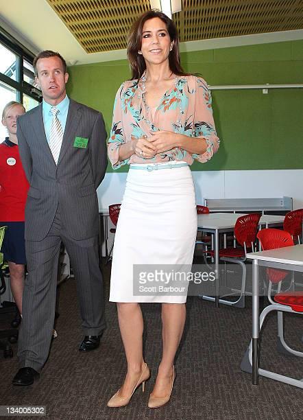 Princess Mary of Denmark tours an environmentallyfriendly building at Pakenham Springs Primary School on November 24 2011 in Melbourne Australia...