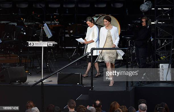Princess Mary of Denmark walks off the stage following her speech at the 40th Anniversary Gala Concert for the Sydney Opera House on October 27 2013...