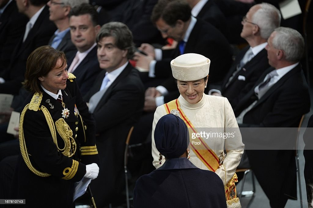 Princess Masako of Japan leaves the inauguration ceremony for King Willem-Alexander of the Netherlands at Nieuwe Kerk on April 30, 2013 in Amsterdam, Netherlands.