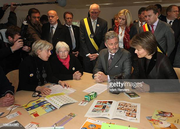 Princess Mathilde and Crownprince Philippe of Belgium talk to unemployed people during a visit at CPAS on October 26 2010 in Namur Belgium Prince...