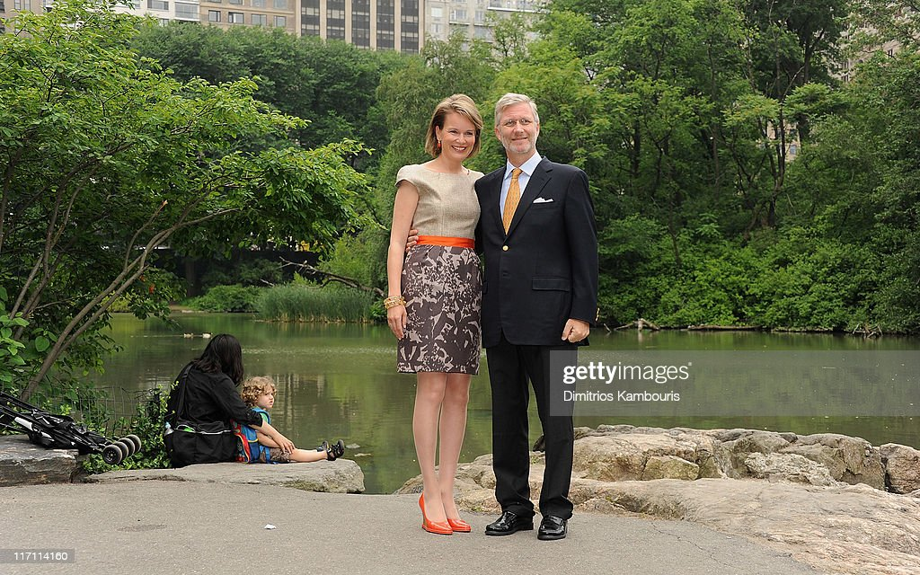Princess Mathilde and H.R.H Prince <a gi-track='captionPersonalityLinkClicked' href=/galleries/search?phrase=Philippe+of+Belgium&family=editorial&specificpeople=160209 ng-click='$event.stopPropagation()'>Philippe of Belgium</a> visit Central Park on June 22, 2011 in New York City.