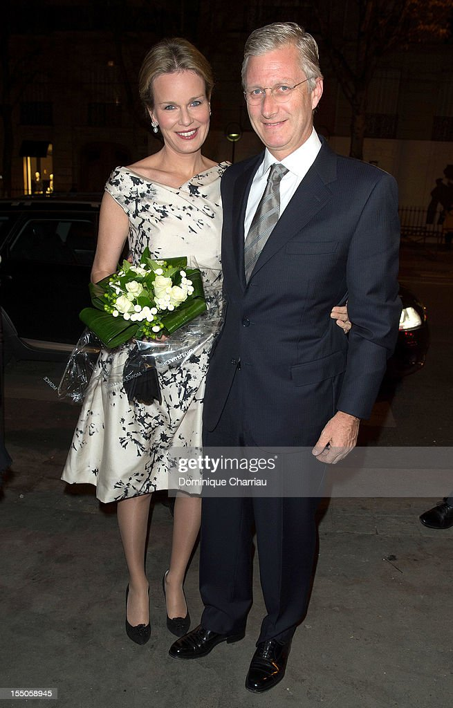 Princess Mathilde and Prince <a gi-track='captionPersonalityLinkClicked' href=/galleries/search?phrase=Philippe+of+Belgium&family=editorial&specificpeople=160209 ng-click='$event.stopPropagation()'>Philippe of Belgium</a> arrive for the 'Liege a Paris' concert at Theatre des Champs-Elysees on October 31, 2012 in Paris, France.