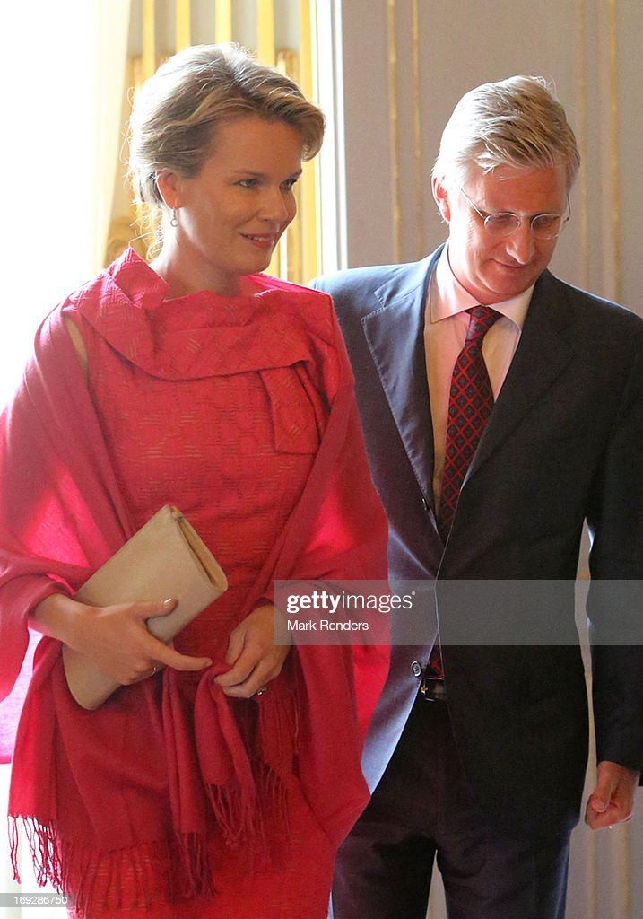 Princess Mathilde and Prince <a gi-track='captionPersonalityLinkClicked' href=/galleries/search?phrase=Philippe+of+Belgium&family=editorial&specificpeople=160209 ng-click='$event.stopPropagation()'>Philippe of Belgium</a> assist the King Baudouin African Development Price at the Royal Palace on May 22, 2013 in Brussel, Belgium.