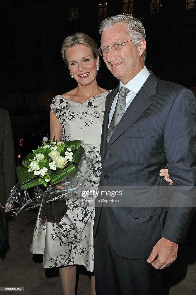 Princess Mathilde and Prince <a gi-track='captionPersonalityLinkClicked' href=/galleries/search?phrase=Philippe+of+Belgium&family=editorial&specificpeople=160209 ng-click='$event.stopPropagation()'>Philippe of Belgium</a> at Theatre des Champs-Elysees on October 31, 2012 in Paris, France.