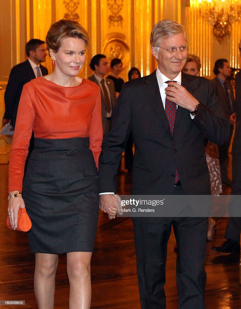 Princess Mathilde and Prince <a gi-track='captionPersonalityLinkClicked' href=/galleries/search?phrase=Philippe+of+Belgium&family=editorial&specificpeople=160209 ng-click='$event.stopPropagation()'>Philippe of Belgium</a> attend a New Year Reception for Country Officials at the Royal Palace on January 29, 2013 in Brussels, Belgium.