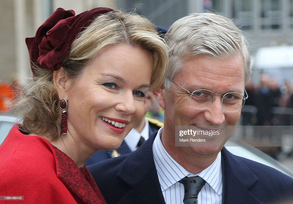 Princess Mathilde and Prince <a gi-track='captionPersonalityLinkClicked' href=/galleries/search?phrase=Philippe+of+Belgium&family=editorial&specificpeople=160209 ng-click='$event.stopPropagation()'>Philippe of Belgium</a> greet the crowd at Cathedrale des Saints-Michel-et-Gudule on November 15, 2012 in Brussels, Belgium.