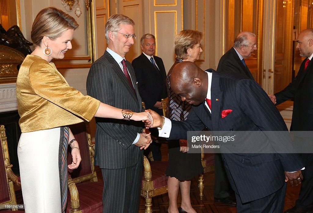 Princess Mathilde and Prince Philippe of Belgium meet Congolese Ambassador Roger Julien Menga during a New Year reception at Palais de Bruxelles on January 9, 2013 in Brussel, Belgium.