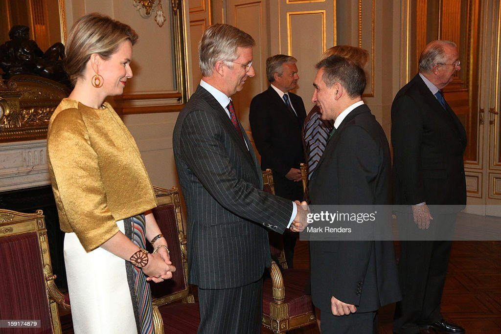 Princess Mathilde and Prince Philippe of Belgium meet Russian Ambassador Alexander Alexandrovich Romanov during a New Year reception at Palais de Bruxelles on January 9, 2013 in Brussel, Belgium.